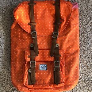 RARE Orange and white polka dot Hershel  backpack